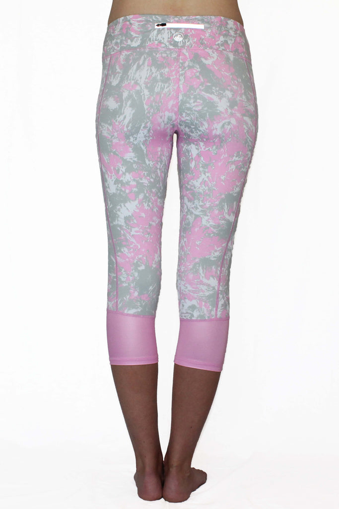 Pink and Gray Marble Moto - Pocket Capri