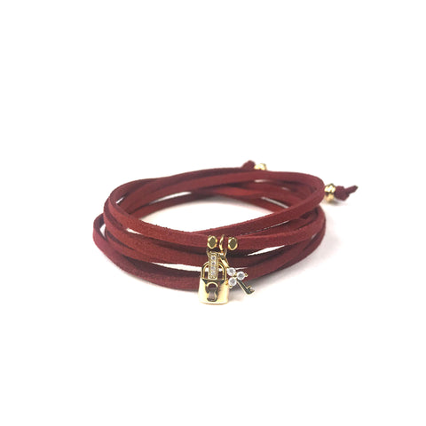 Image of Lock and Key Burgundy Suede Wrap Bracelet