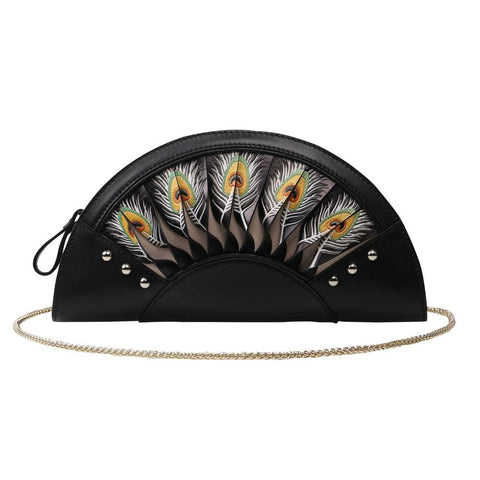 Image of Feather Black Crossbody Clutch