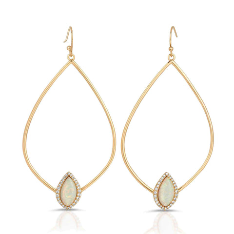 Tempest Gold White Opal Earrings