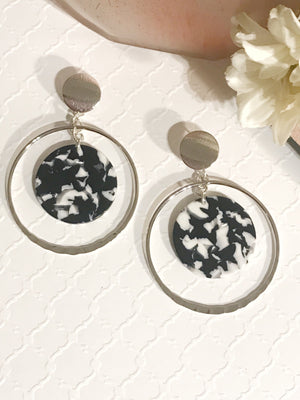 Hillary Hoops with Resin Earrings in Silver