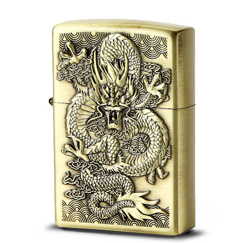 Briquet Essence Gravure Or Dragon de Chine