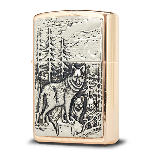 Briquet Essence Loup Alpha Or