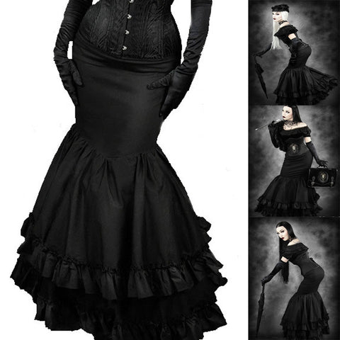 Black Fishtail Morticia Style Skirt | Steampunk Victorian Maxi Skirt | Fishtail Black Gothic Skirt