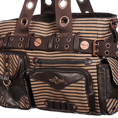 Brown Star Steampunk Handbag | Gothic Overnight Bag | Large Steampunk Handbag | Striped Vintage Handbag