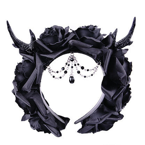 Gothic Roses hairband | Gothic Headdress | Horns and Roses Goth Hairband