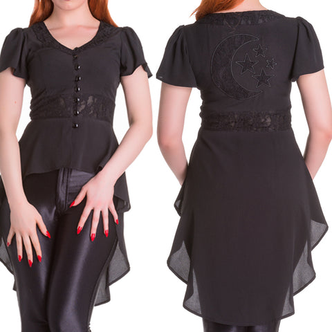 Steampunk Tailcoat | Gothic Tailcoat | Moon and Stars Jacket | Flowing Blouse | Tailcoat Top | Gothic Top | Gothic Jacket