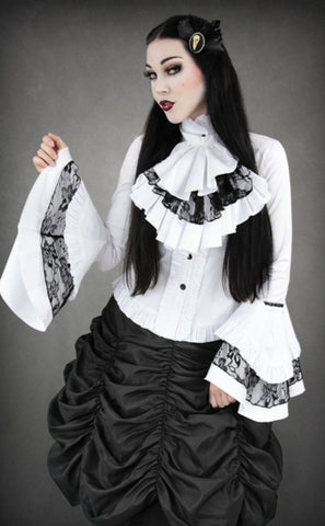 White Gothic Shirt with Jabot | Steampunk Shirt | Pyon Pyon Shirt