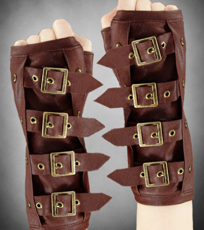 Short Brown Steampunk Gloves | Gothic Gloves | Alternative Accessories | Steampunk Accessories