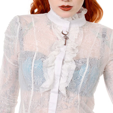 Victorian Lace Shirt | Life in Lace White Vintage Shirt | Lace Ruffle Shirt with Key | Cute Key lace Shirt