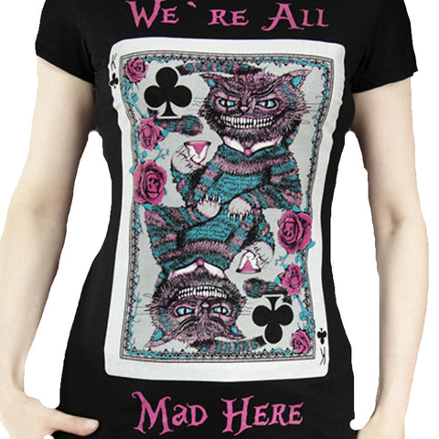 Gothic T-Shirt | Alice in Wonderland Gothic T-Shirt | Wonderland T-Shirt | Cheshire Cat T-Shirt | We are all mad here T-Shirt