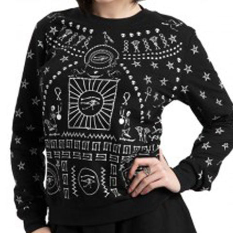 Occult Jumper | Egyptian Symbols Sweater | Black Gothic Jumper | Occult Symbols