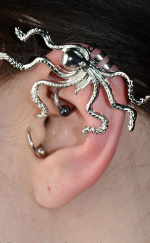 Steampunk EarWrap | Octopus Earwrap | Steampunk Octopus Earrings