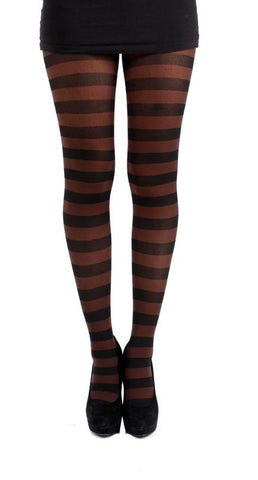 Steampunk Tights, Steampunk Clothing UK, Steampunk Brown Striped Twicker Tights