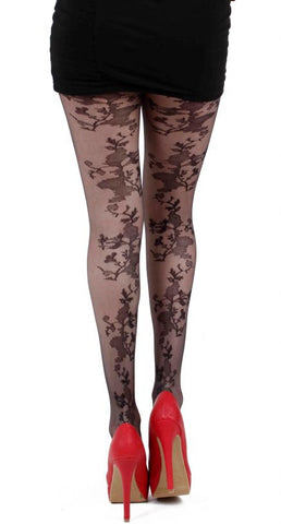 Steampunk Tights, Floral Sheer Seam Steampunk Tights, Steampunk Clothing UK