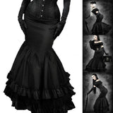 Steampunk Skirt Long Black Gothic Victorian Fishtail Flared Maxi Skirt 3