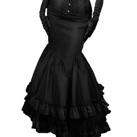 Steampunk Skirt Long Black Gothic Victorian Fishtail Flared Maxi Skirt 1