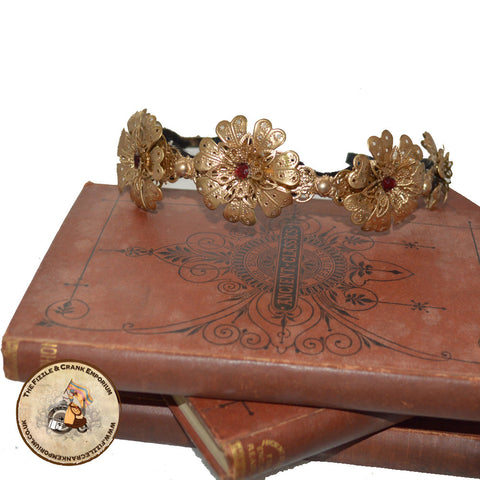 Gothic Tiara | Golden Floral Crown | Alternative Hairband | Artemia Flora Tiara
