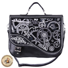 Cog & Clockwork Steampunk Satchel Black