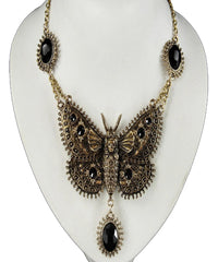 Dark Butterfly Black & Brass Necklace
