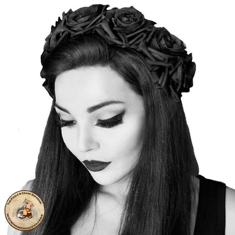 Gothic Hairband | Gothic Fascinator | Black Rose Crown