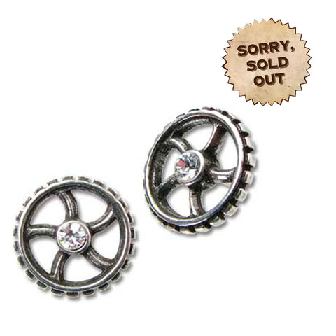 Diamond Crank-Wheel Ear Ring Studs