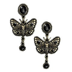 Dark Moth Butterfly Earrings