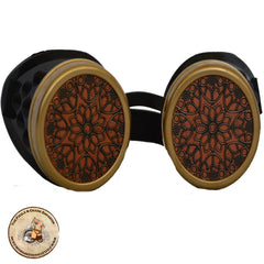 Vintage Floriographic Steampunk Goggles in Brass