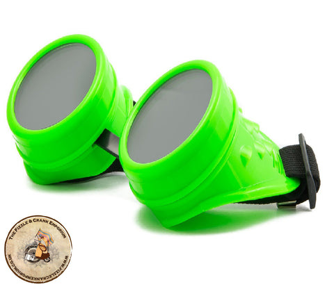 Bright Green Steampunk Goggles | Fluorescent Green Cyber Goggles | Cheap Steampunk Goggles