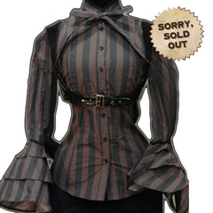 Gallant Steampunk Brown & Striped Shirt with Victorian Style Harness