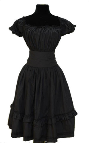Steampunk Dress, Black Steampunkabilly dress with attached waspie. Steampunk Clothing
