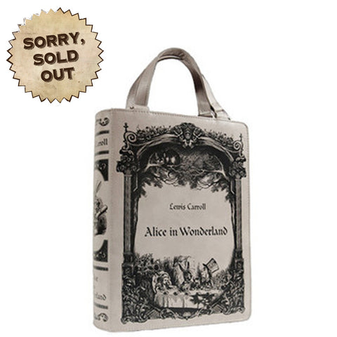 Gothic Bag | Alice in Wonderland Book Bag | Book Shaped Bag | Unique Bag | Grey Gothic Book Bag