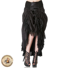 Gothic Skirt | Long Black Flowing Gothic Skirt | Waterfall Hitched Skirt with Corset Waistband and Ruffles. Great Fringed Gothic Skirt
