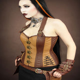 Gorgeous Caramel Brown Steampunk OverBust Corset With halter Straps