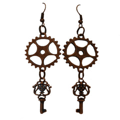 Cog & Key Steampunk Earrings