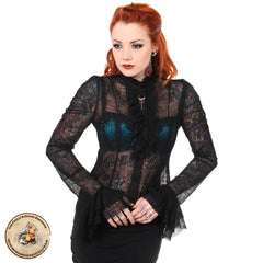 Gothic Lace Shirt | Victorian Lace Shirt | Life in Lace Black Vintage Shirt | Lace Ruffle Shirt with Key | Cute Key lace Shirt
