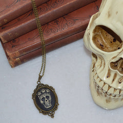 Mexican Sunrise Skull Necklace Bronze