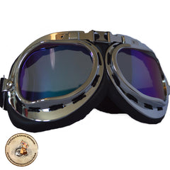 Silver Motorcycle Steampunk Goggles