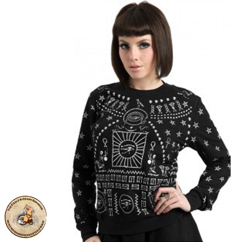 Black Gothic Jumper | Occult Jumper | Egyptian Symbols Sweater | Occult Symbols | Occult Victorian Jumper