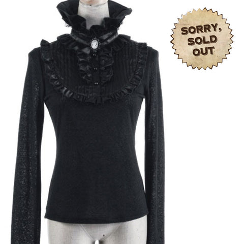 Victorian Gothic Purity Top with Cameo