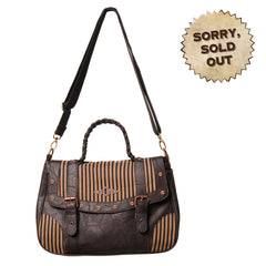 Steampunk Handbag | Vintage Pinstriped Handbag | Keyhole Brown Steampunk Bag