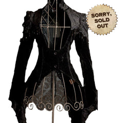 Victorian Velvet Feel Gothic Jacket. Lovely Black Steampunk Style Tailocat with Beading & Lace
