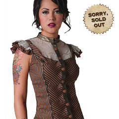 Dynamo Steampunk Shirt. Black & Brown Striped Shirt with Copper Buttons and Lace Neckline with Frilled Sleeved. Perfect Victorian Steampunk Style Shirt