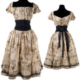 The Magellan Steampunk Map Dress is a Unique Print for the Victorian Explorer.