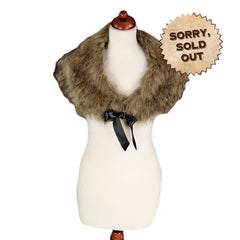 Victorian Plume Faux Fur Stole Brown