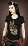 Steampunk TShirt | Gothic T-Shirt | Steampunk Sky Captain Top | Black Clockwork Heart Tee