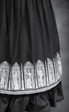 Steampunk Victorian Crinoline Black Circle Skirt. Goth Long black Skirt. Detail Image.