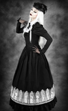Steampunk Victorian Crinoline Black Circle Skirt. Goth Long black Skirt. Main Image.