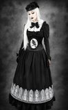 Steampunk Victorian Crinoline Black Circle Skirt. Goth Long black Skirt. Front Image.