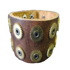 Leather Cog Cuff